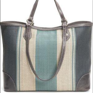 FRYE Melissa Stripe Woven Leather Shopper
